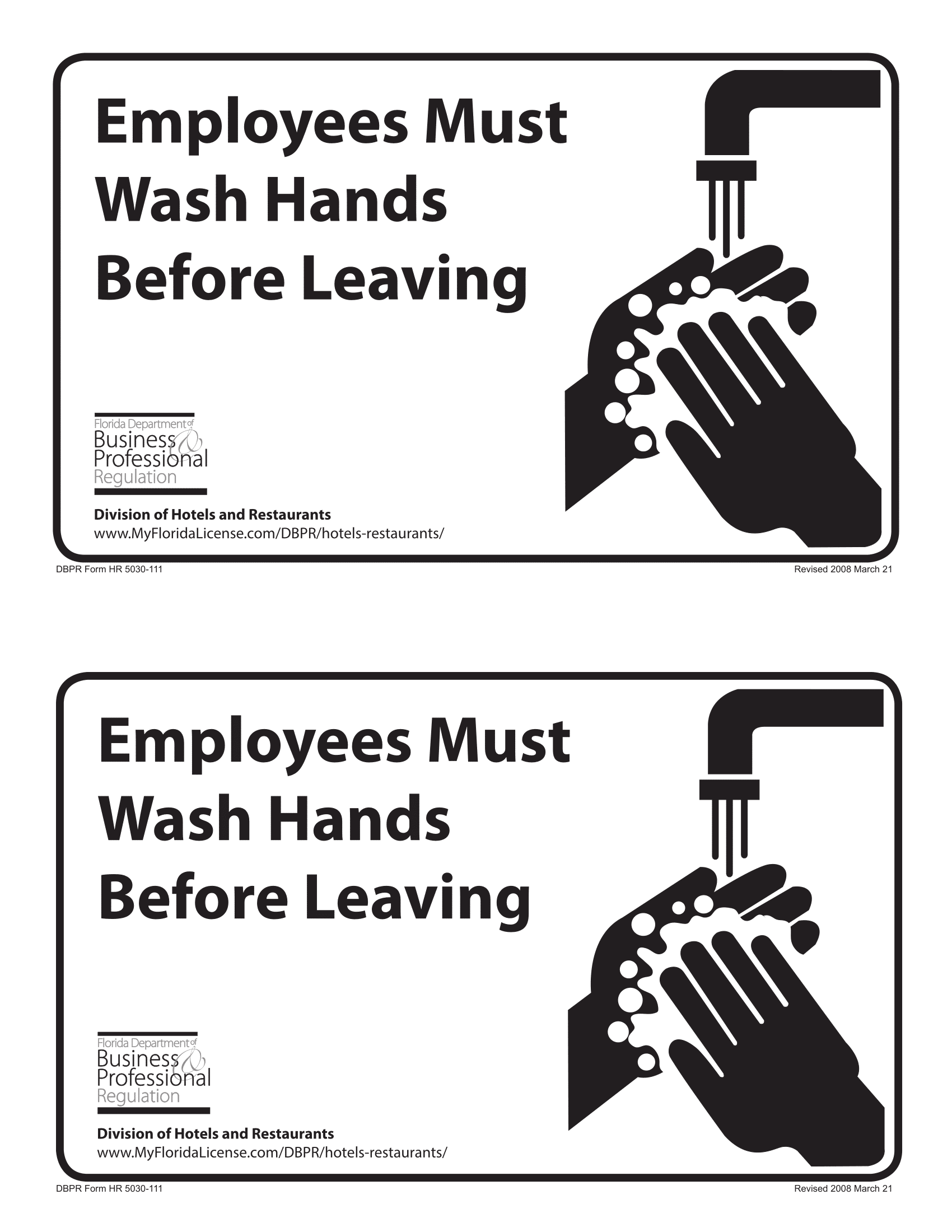 Wash Hands Signs Poster Template