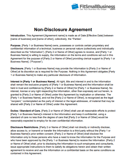 Non Disclosure Agreemnt Nda Templates Poster Template