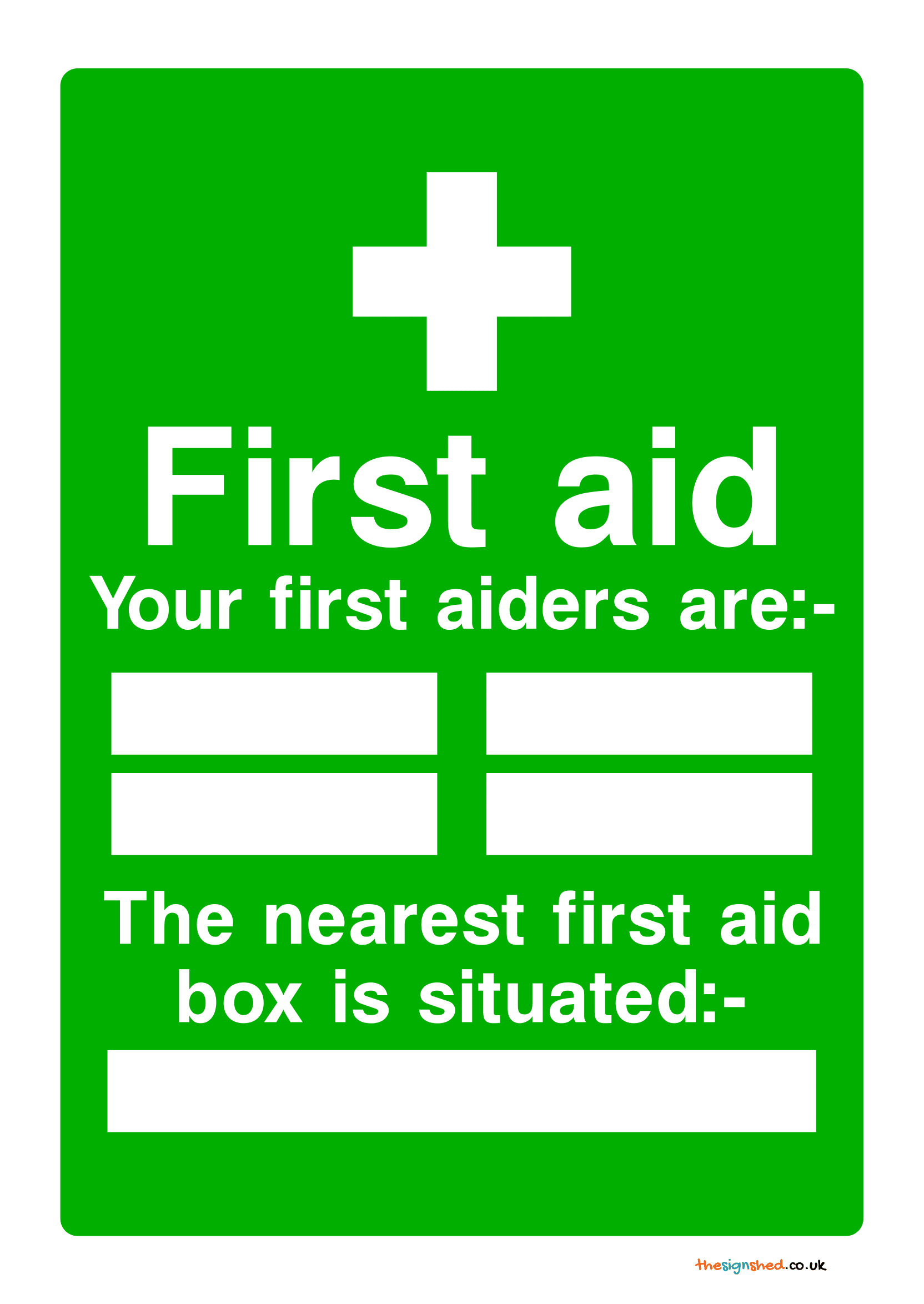 first aid box signs