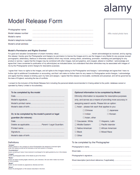 Photography Release Form Templates Poster Template