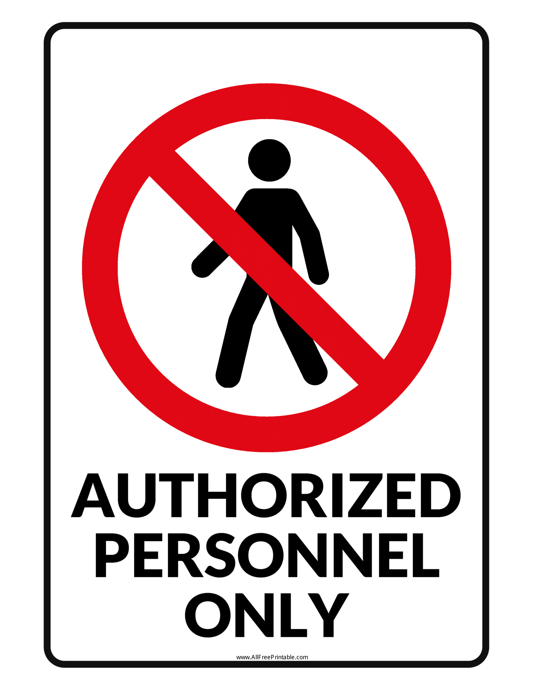 graphic relating to Authorized Personnel Only Sign Printable known as Accredited Employees Merely Indications Poster Template