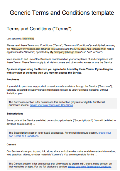 40 free terms and conditions templates for any website ᐅ template lab.
