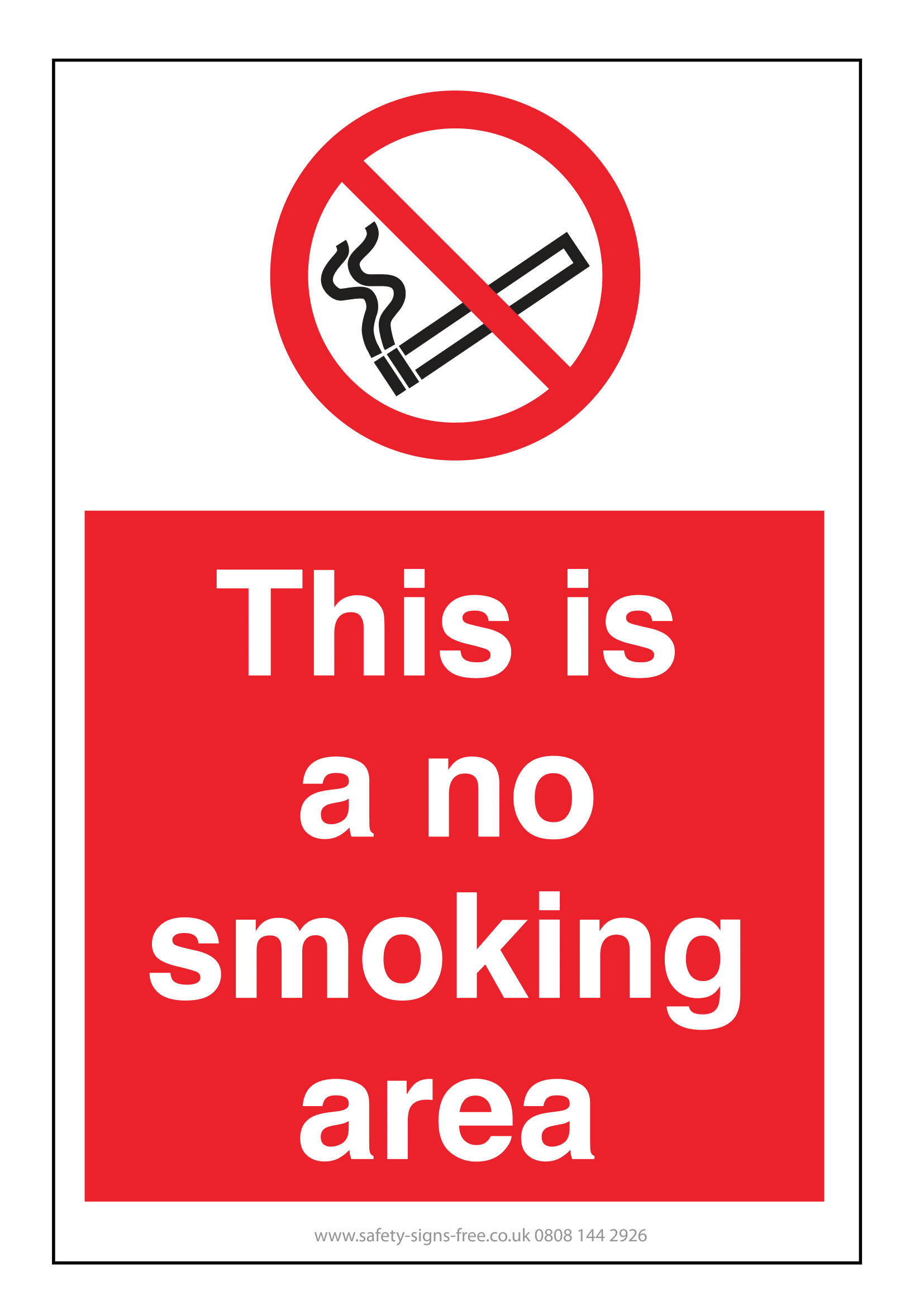 photograph about Free Printable No Smoking Signs called No Cigarette smoking Symptoms Poster Template