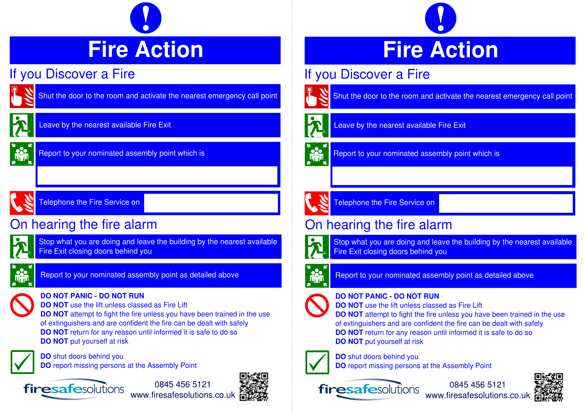 Fire Action Signs | Poster Template