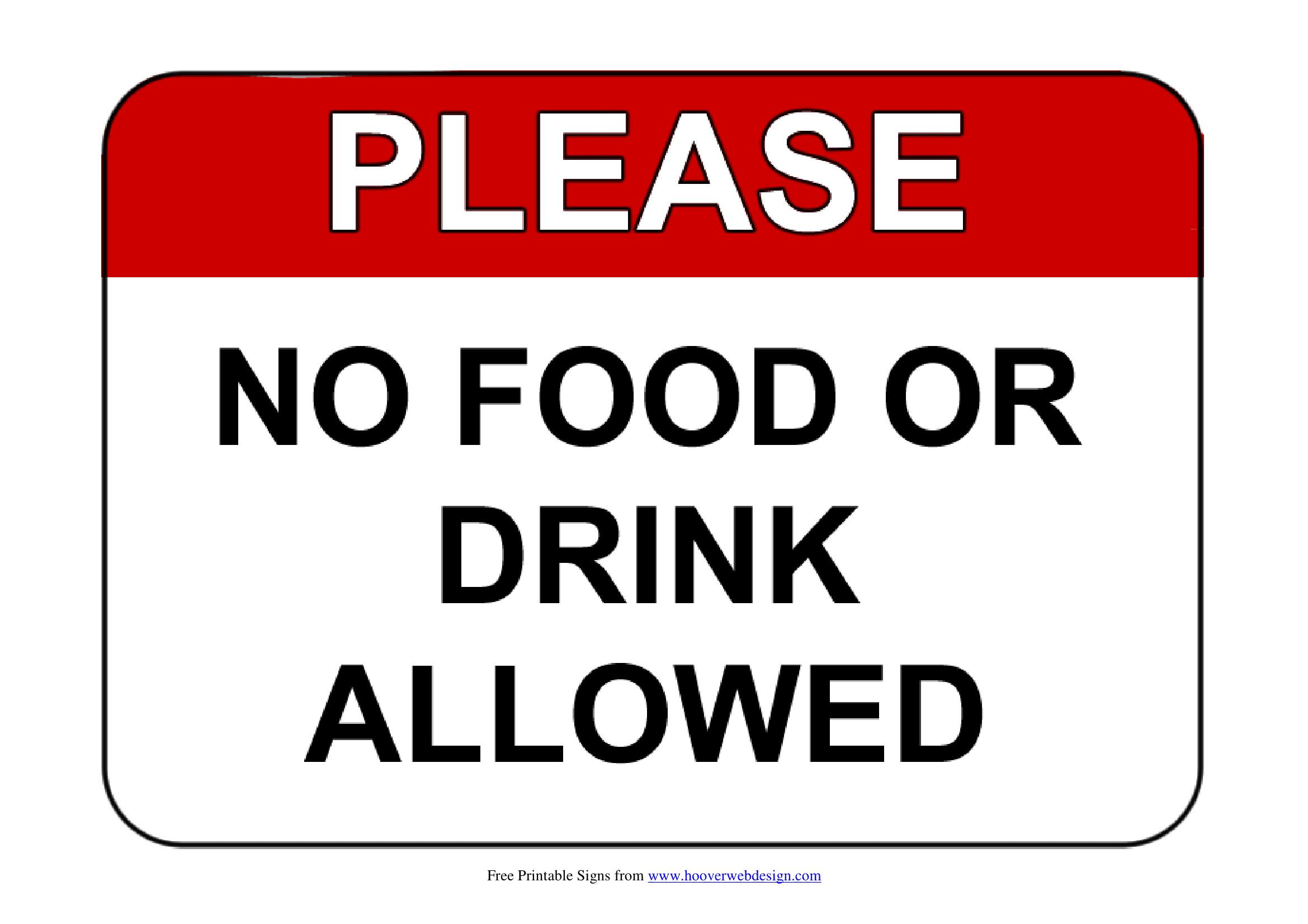 No Food Or Drink Signs Poster Template