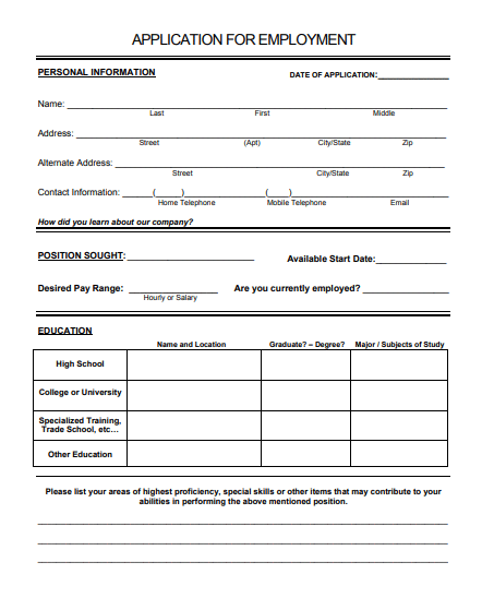 Template For Job Application from www.postertemplate.co.uk