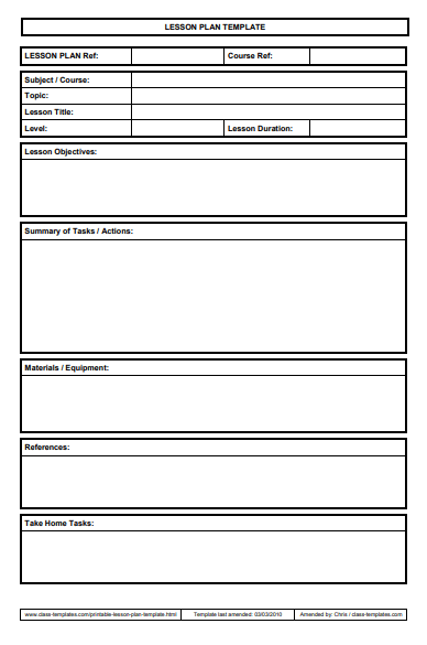 This is a photo of Printable Lesson Plans with blank