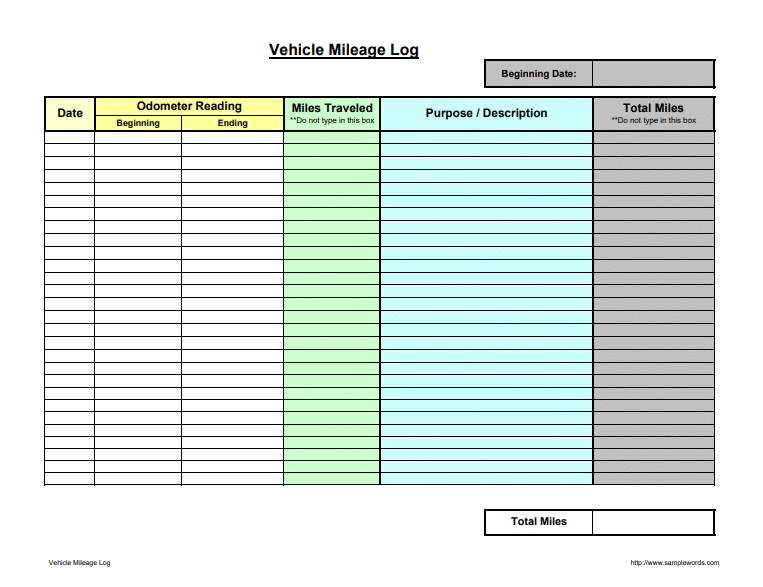 Daily Mileage Log Template from www.postertemplate.co.uk