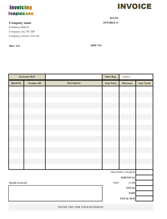 Invoice Templates Poster Template